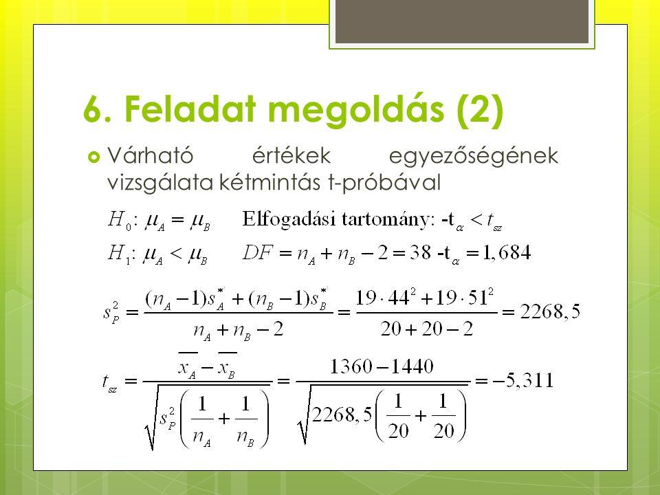 6. Feladat megoldás (2)  Várható értékek egyezőségének vizsgálata kétmintás t-próbával