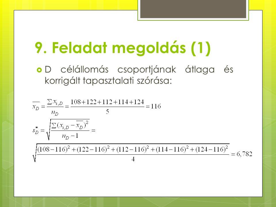 9. Feladat megoldás (1)  D célállomás csoportjának átlaga és korrigált tapasztalati szórása: