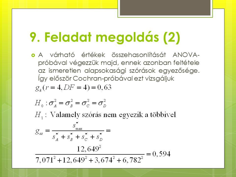 9. Feladat megoldás (2)  A várható értékek összehasonlítását ANOVA- próbával végezzük majd, ennek azonban feltétele az ismeretlen alapsokasági szórás