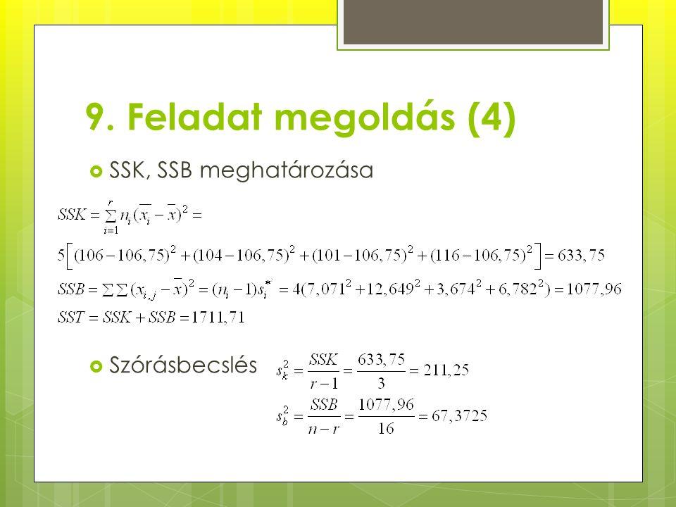 9. Feladat megoldás (4)  SSK, SSB meghatározása  Szórásbecslés