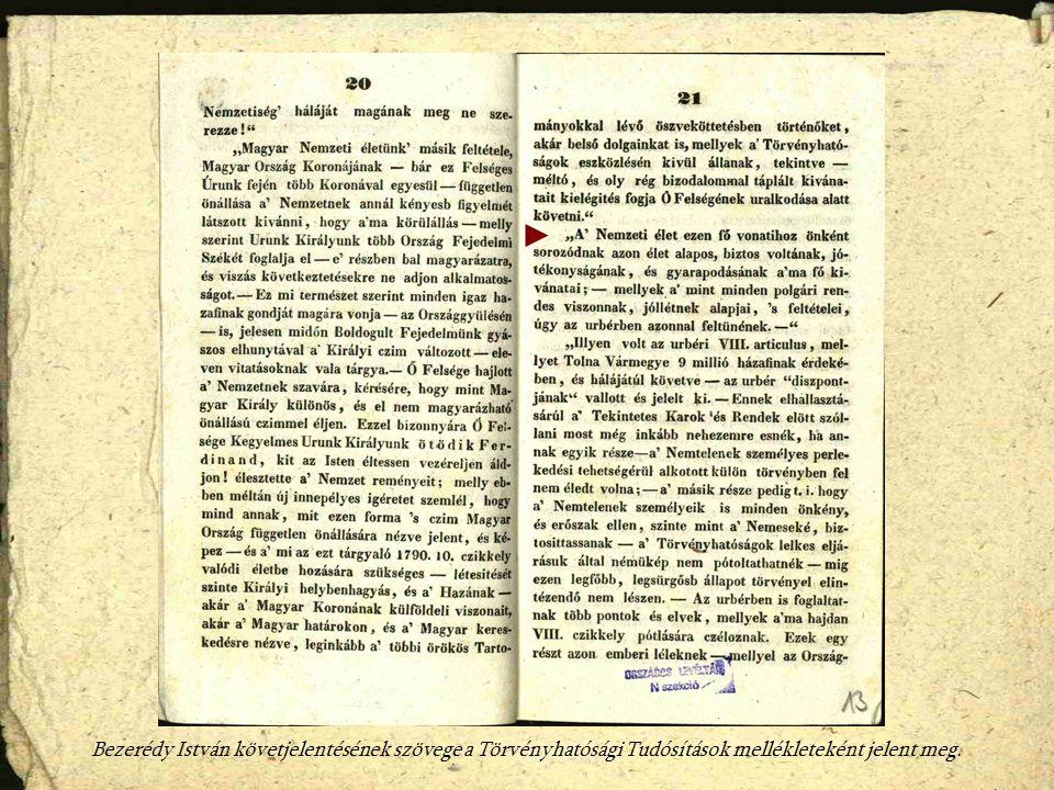 Bezerédy István követjelentésének szövege a Törvényhatósági Tudósítások mellékleteként jelent meg.