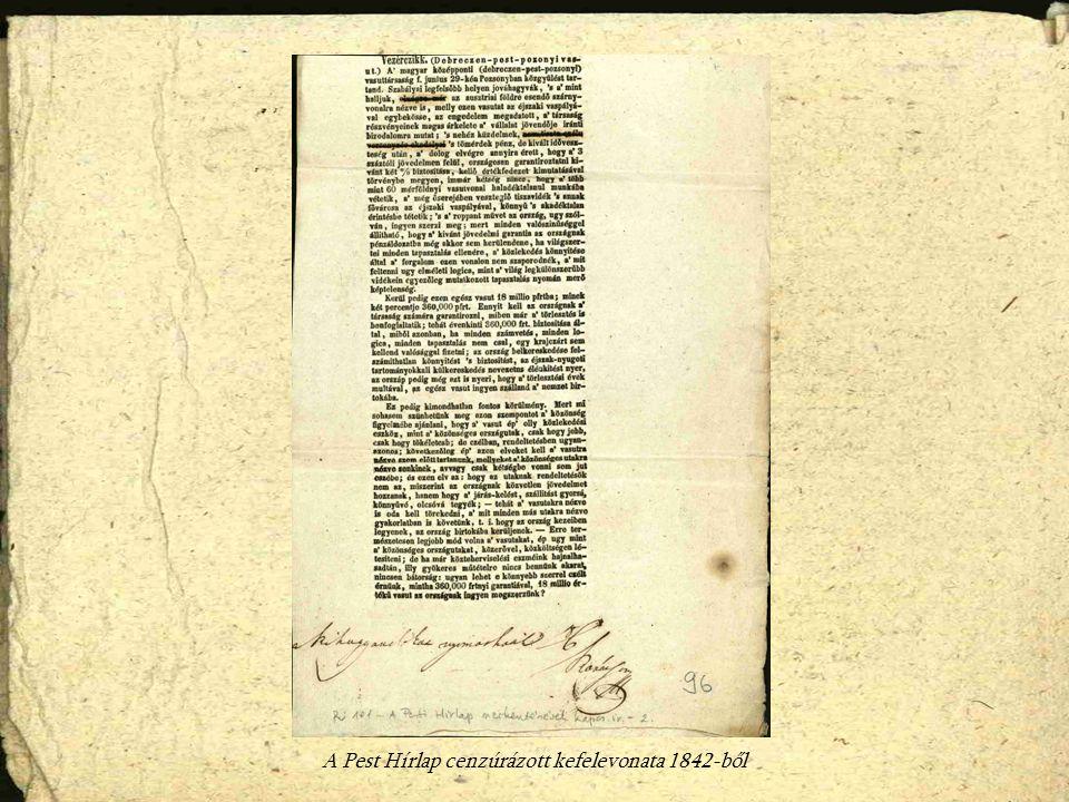 A Pest Hírlap cenzúrázott kefelevonata 1842-ből