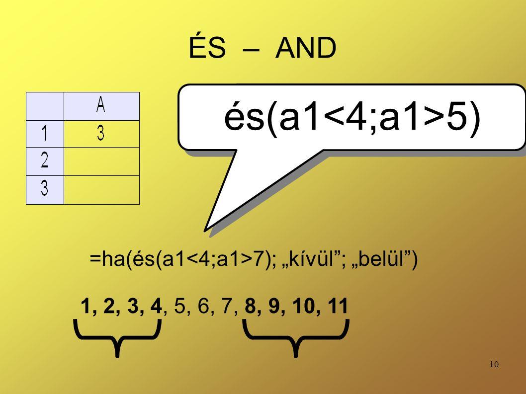 """10 ÉS – AND =ha(és(a1 7); """"kívül""""; """"belül"""") és(a1 5) 1, 2, 3, 4, 5, 6, 7, 8, 9, 10, 11"""
