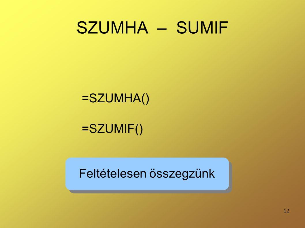12 SZUMHA – SUMIF =SZUMHA() =SZUMIF() Feltételesen összegzünk