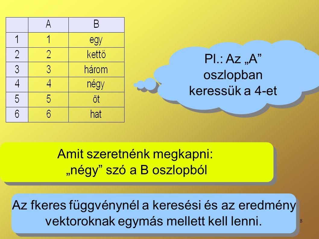 """18 Pl.: Az """"A oszlopban keressük a 4-et Amit szeretnénk megkapni: """"négy szó a B oszlopból Amit szeretnénk megkapni: """"négy szó a B oszlopból Az fkeres függvénynél a keresési és az eredmény vektoroknak egymás mellett kell lenni."""
