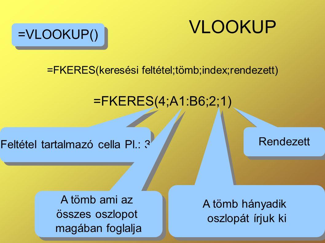 19 VLOOKUP =FKERES(keresési feltétel;tömb;index;rendezett) =FKERES(4;A1:B6;2;1) =VLOOKUP() Rendezett Feltétel tartalmazó cella Pl.: 3 A tömb hányadik oszlopát írjuk ki A tömb hányadik oszlopát írjuk ki A tömb ami az összes oszlopot magában foglalja A tömb ami az összes oszlopot magában foglalja