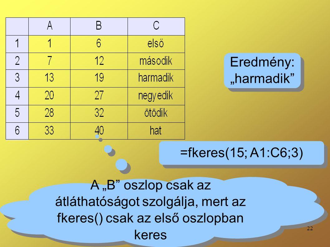"""22 A """"B oszlop csak az átláthatóságot szolgálja, mert az fkeres() csak az első oszlopban keres =fkeres(15; A1:C6;3) Eredmény: """"harmadik Eredmény: """"harmadik"""