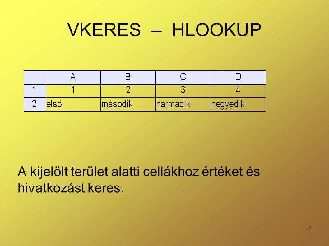24 VKERES – HLOOKUP A kijelölt terület alatti cellákhoz értéket és hivatkozást keres.
