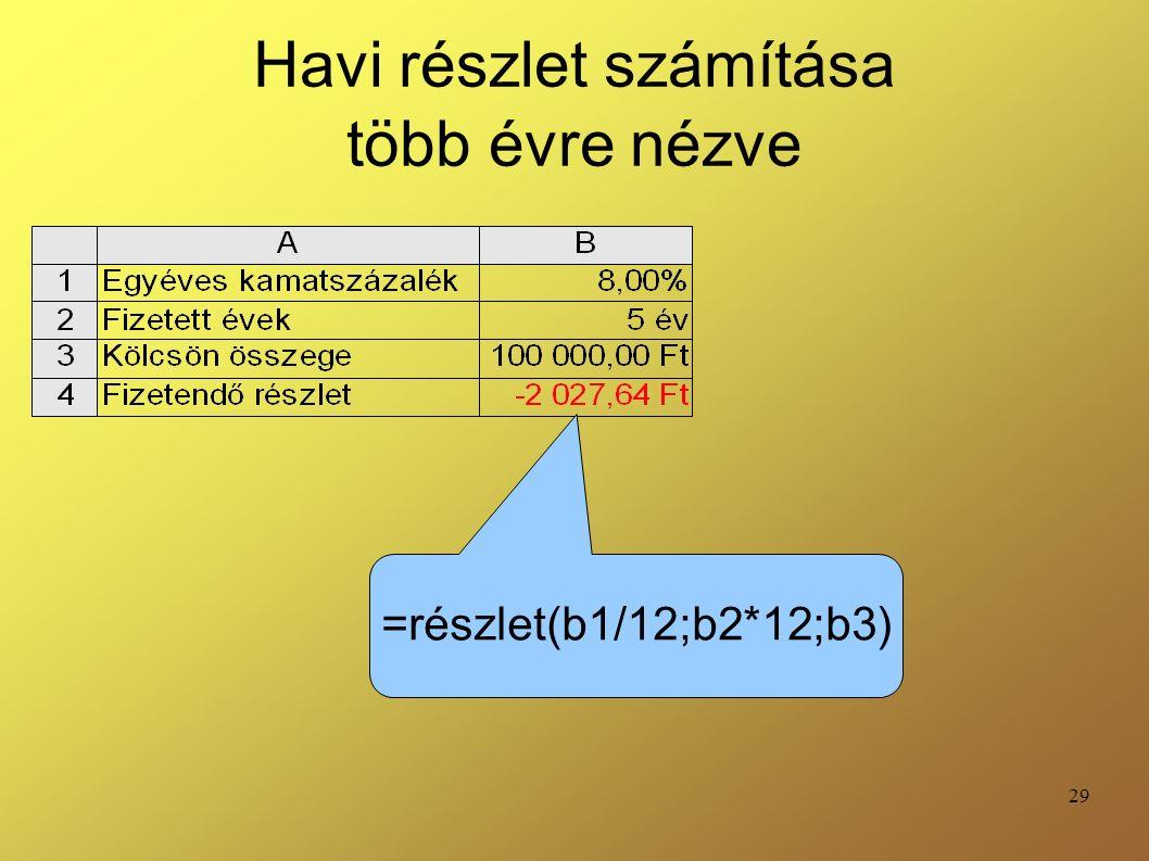 29 Havi részlet számítása több évre nézve =részlet(b1/12;b2*12;b3)