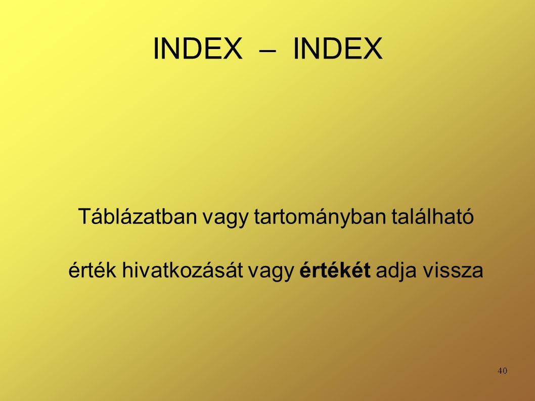 40 INDEX – INDEX Táblázatban vagy tartományban található érték hivatkozását vagy értékét adja vissza