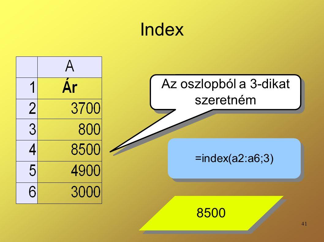 41 Index Az oszlopból a 3-dikat szeretném Az oszlopból a 3-dikat szeretném =index(a2:a6;3) 8500