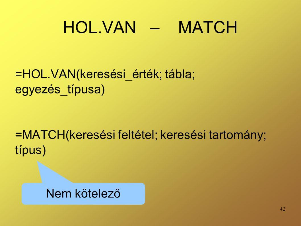 42 HOL.VAN – MATCH =HOL.VAN(keresési_érték; tábla; egyezés_típusa) =MATCH(keresési feltétel; keresési tartomány; típus) Nem kötelező