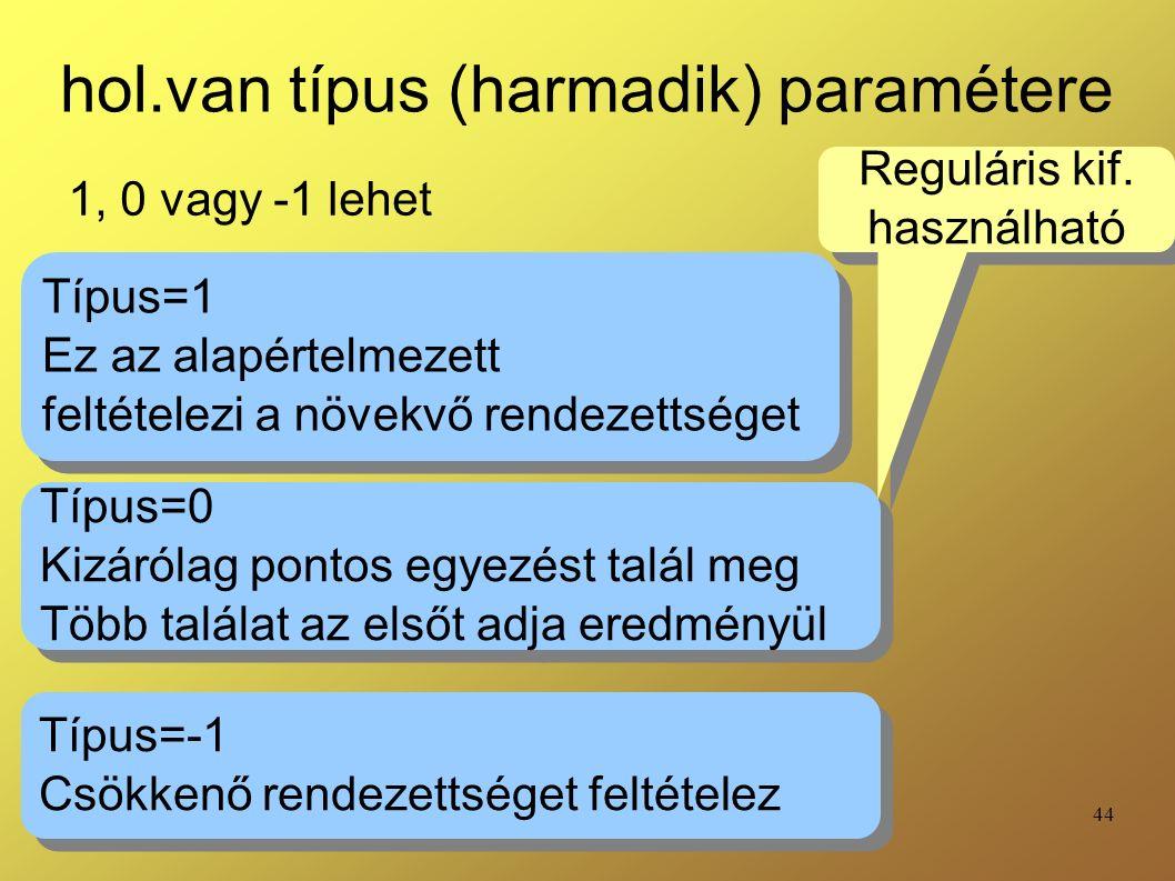 44 hol.van típus (harmadik) paramétere 1, 0 vagy -1 lehet Típus=1 Ez az alapértelmezett feltételezi a növekvő rendezettséget Típus=1 Ez az alapértelme