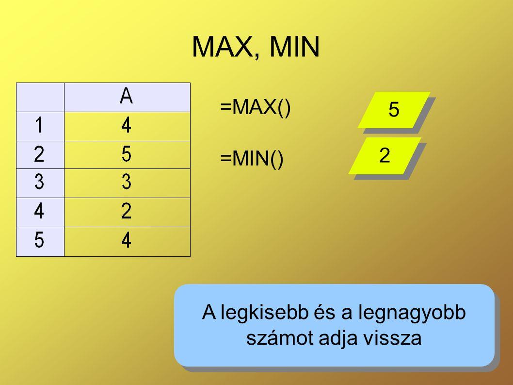 6 MAX, MIN =MAX() =MIN() A legkisebb és a legnagyobb számot adja vissza A legkisebb és a legnagyobb számot adja vissza 5 5 2 2