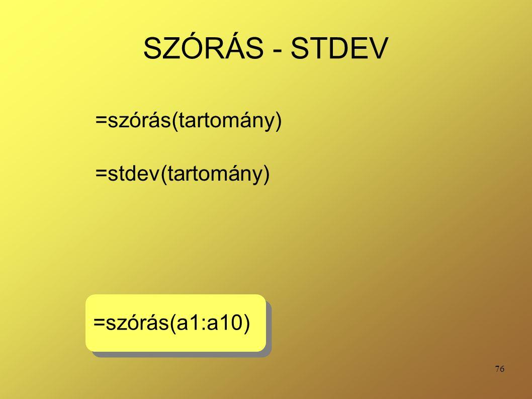 76 SZÓRÁS - STDEV =szórás(tartomány) =stdev(tartomány) =szórás(a1:a10)