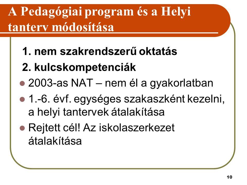 10 A Pedagógiai program és a Helyi tanterv módosítása 1. nem szakrendszerű oktatás 2. kulcskompetenciák 2003-as NAT – nem él a gyakorlatban 1.-6. évf.