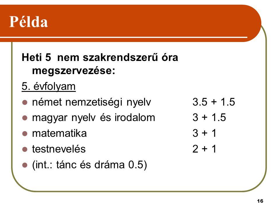 16 Példa Heti 5 nem szakrendszerű óra megszervezése: 5. évfolyam német nemzetiségi nyelv 3.5 + 1.5 magyar nyelv és irodalom 3 + 1.5 matematika 3 + 1 t