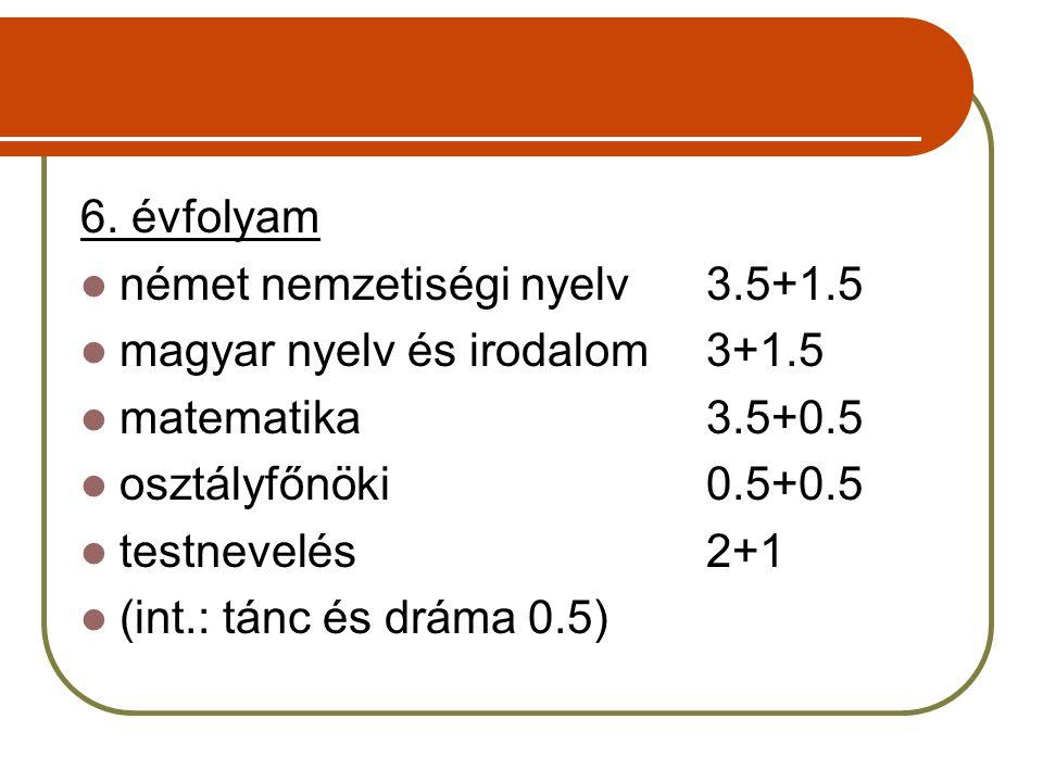6. évfolyam német nemzetiségi nyelv3.5+1.5 magyar nyelv és irodalom3+1.5 matematika3.5+0.5 osztályfőnöki0.5+0.5 testnevelés2+1 (int.: tánc és dráma 0.