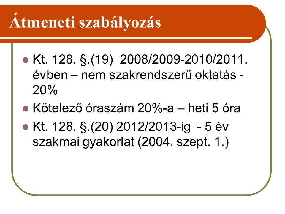 Átmeneti szabályozás Kt. 128. §.(19) 2008/2009-2010/2011. évben – nem szakrendszerű oktatás - 20% Kötelező óraszám 20%-a – heti 5 óra Kt. 128. §.(20)