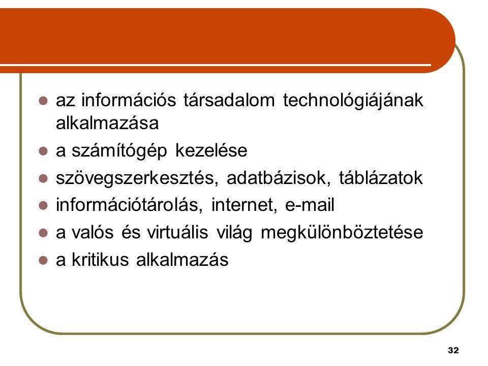 32 az információs társadalom technológiájának alkalmazása a számítógép kezelése szövegszerkesztés, adatbázisok, táblázatok információtárolás, internet