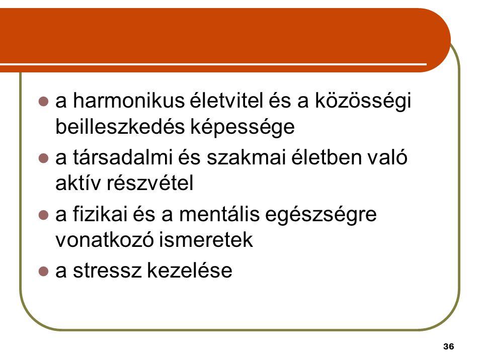 36 a harmonikus életvitel és a közösségi beilleszkedés képessége a társadalmi és szakmai életben való aktív részvétel a fizikai és a mentális egészségre vonatkozó ismeretek a stressz kezelése