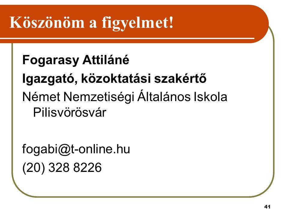 41 Köszönöm a figyelmet! Fogarasy Attiláné Igazgató, közoktatási szakértő Német Nemzetiségi Általános Iskola Pilisvörösvár fogabi@t-online.hu (20) 328