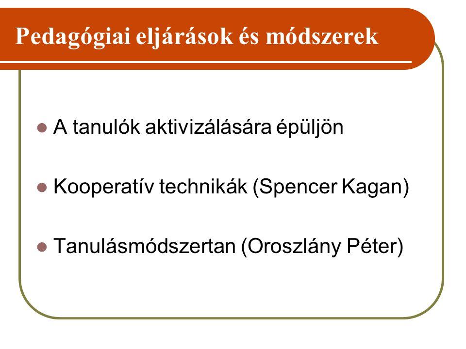 Pedagógiai eljárások és módszerek A tanulók aktivizálására épüljön Kooperatív technikák (Spencer Kagan) Tanulásmódszertan (Oroszlány Péter)