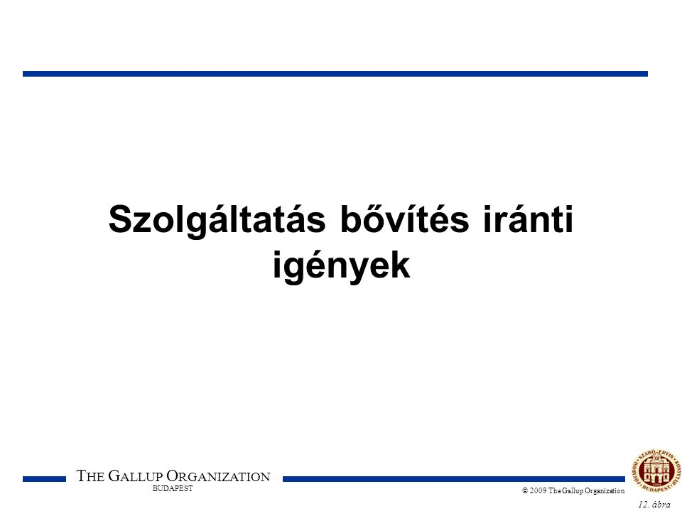 12. ábra T HE G ALLUP O RGANIZATION BUDAPEST © 2009 The Gallup Organization Szolgáltatás bővítés iránti igények