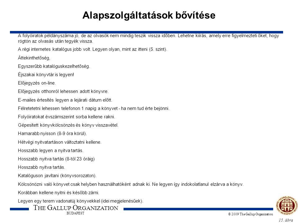 15. ábra T HE G ALLUP O RGANIZATION BUDAPEST © 2009 The Gallup Organization Alapszolgáltatások bővítése A folyóiratok példányszáma jó, de az olvasók n