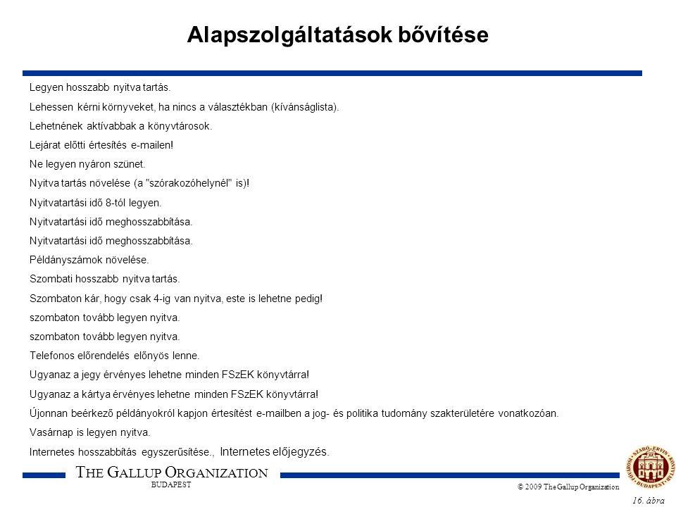 16. ábra T HE G ALLUP O RGANIZATION BUDAPEST © 2009 The Gallup Organization Alapszolgáltatások bővítése Legyen hosszabb nyitva tartás. Lehessen kérni