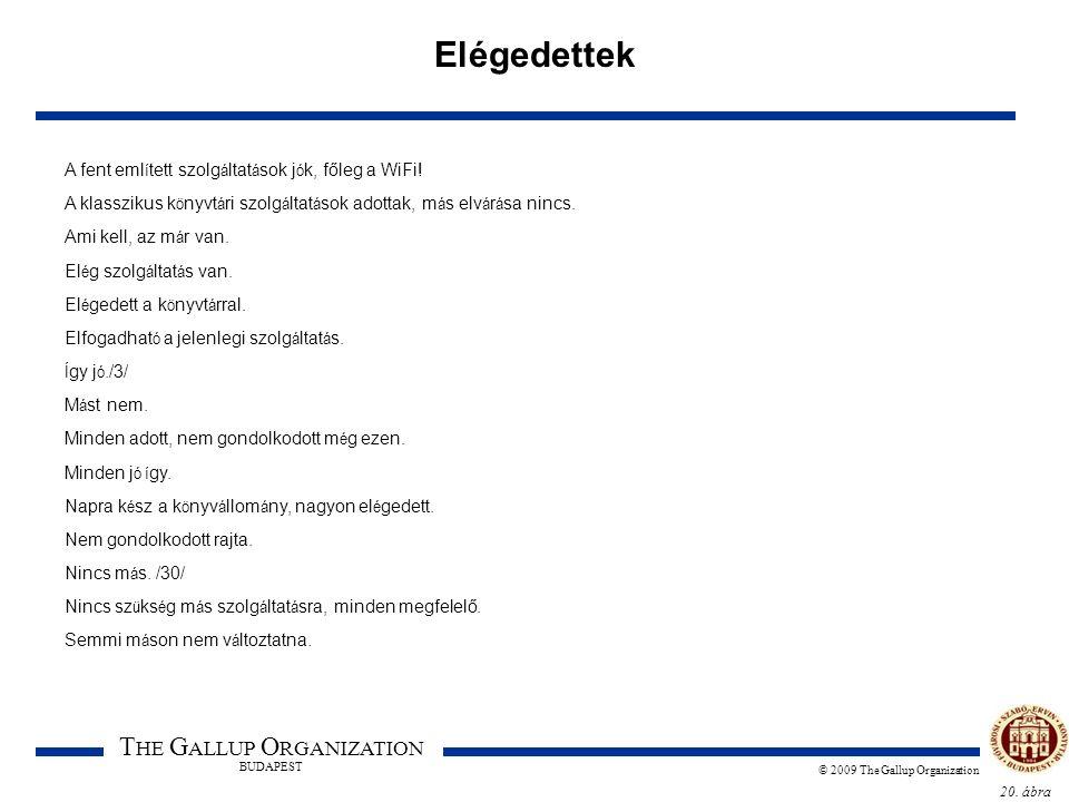 20. ábra T HE G ALLUP O RGANIZATION BUDAPEST © 2009 The Gallup Organization Elégedettek A fent eml í tett szolg á ltat á sok j ó k, főleg a WiFi! A kl