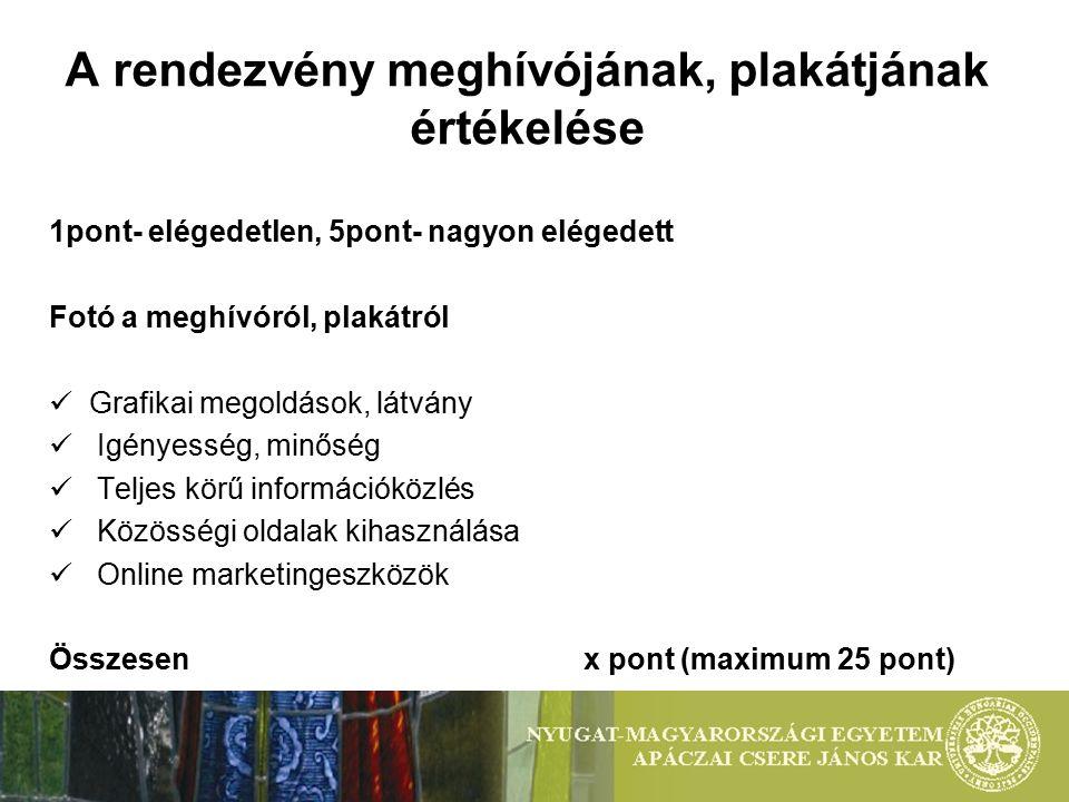 A rendezvény meghívójának, plakátjának értékelése 1pont- elégedetlen, 5pont- nagyon elégedett Fotó a meghívóról, plakátról Grafikai megoldások, látván