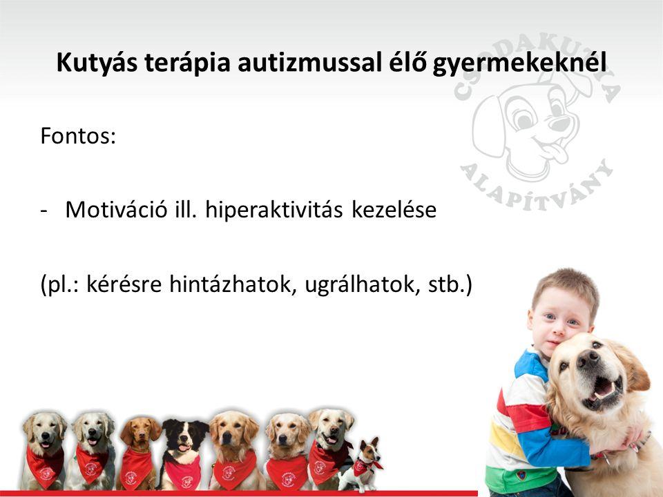 Fontos: -Motiváció ill. hiperaktivitás kezelése (pl.: kérésre hintázhatok, ugrálhatok, stb.)
