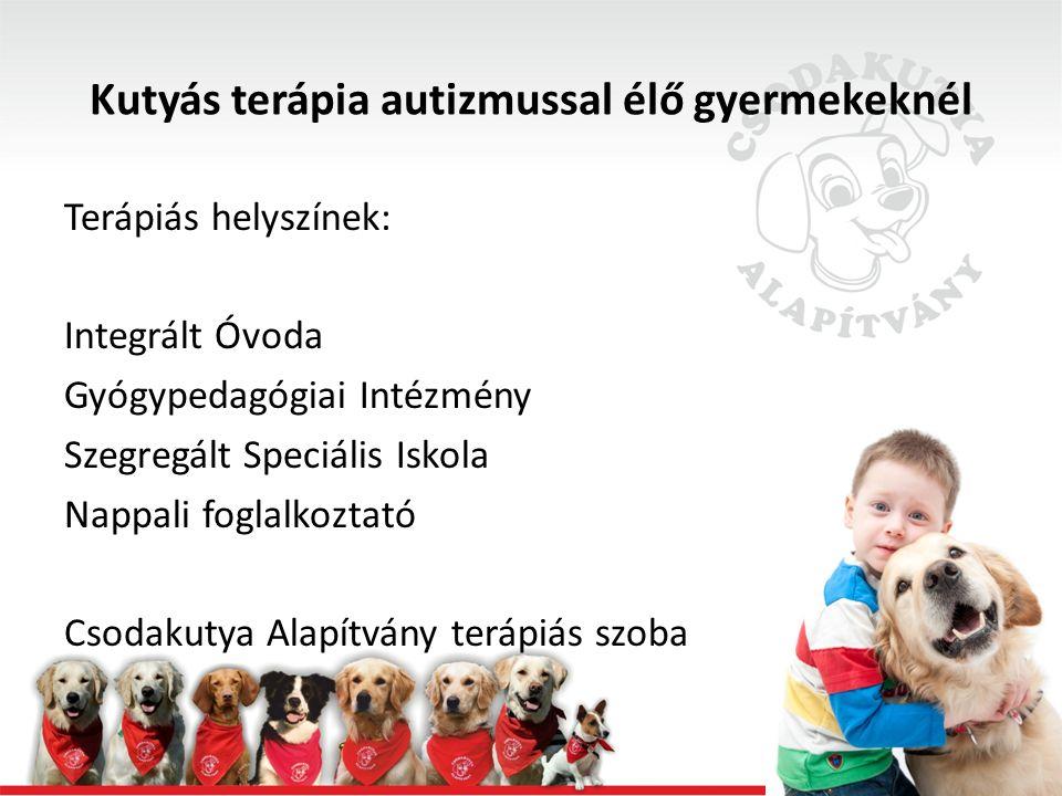 Kutyás terápia autizmussal élő gyermekeknél Együttműködés, alkalmazkodás: -Sokkal együttműködőbb, önállóbb -Kis segítséggel önállóan vetkőzik, öltözik -Szépen viselkedik a kutyával -Elfogadja a változásokat -Agresszivitása elhanyagolható -Kudarctűrőbb, csak duzzog -Feladathelyzetbe vonható