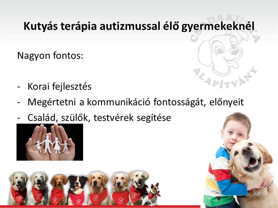 Kutyás terápia autizmussal élő gyermekeknél Fontos: -Viszonylagos rugalmasság kialakítása (pl.: ugyanazokat az eszközöket más-más tevékenységhez, feladathoz is használhatjuk, más szabályt is alkalmazhatunk, stb.) (Szinek tanulása)