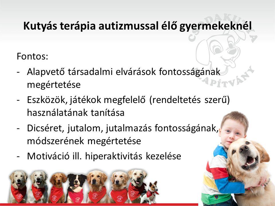 Kutyás terápia autizmussal élő gyermekeknél Fontos: -Alapvető társadalmi elvárások fontosságának megértetése -Eszközök, játékok megfelelő (rendeltetés szerű) használatának tanítása -Dicséret, jutalom, jutalmazás fontosságának, módszerének megértetése -Motiváció ill.