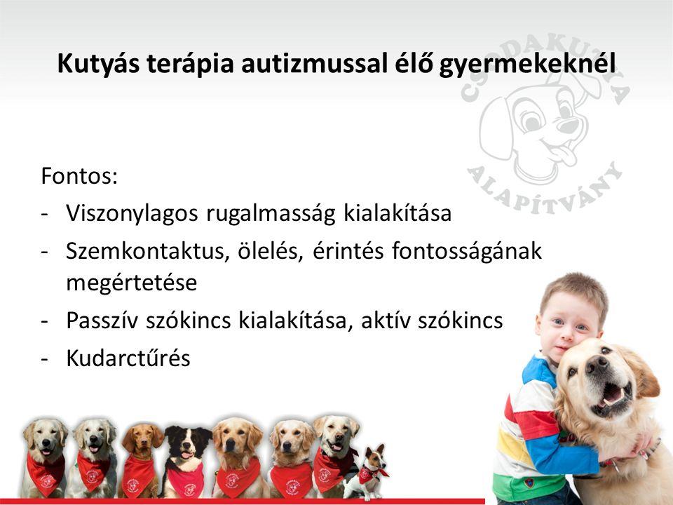 Fontos: -Szemkontaktus, ölelés, érintés fontosságának megértetése (pl.: megdicsérni a kutyát )