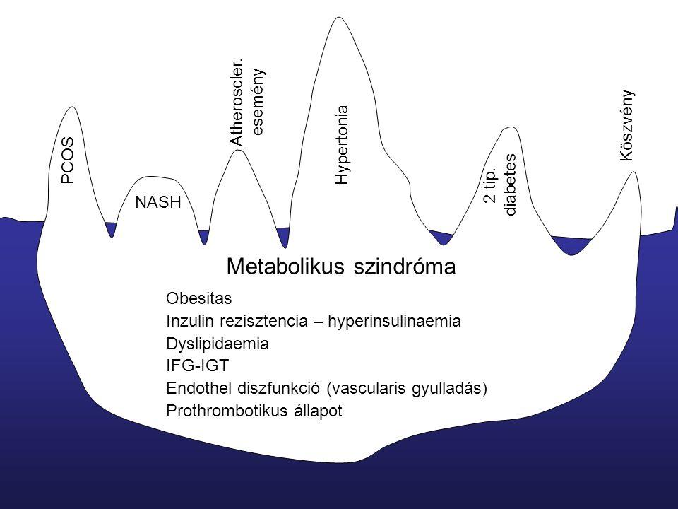 Metabolikus szindróma Obesitas Inzulin rezisztencia – hyperinsulinaemia Dyslipidaemia IFG-IGT Endothel diszfunkció (vascularis gyulladás) Prothrombotikus állapot Hypertonia Atheroscler.