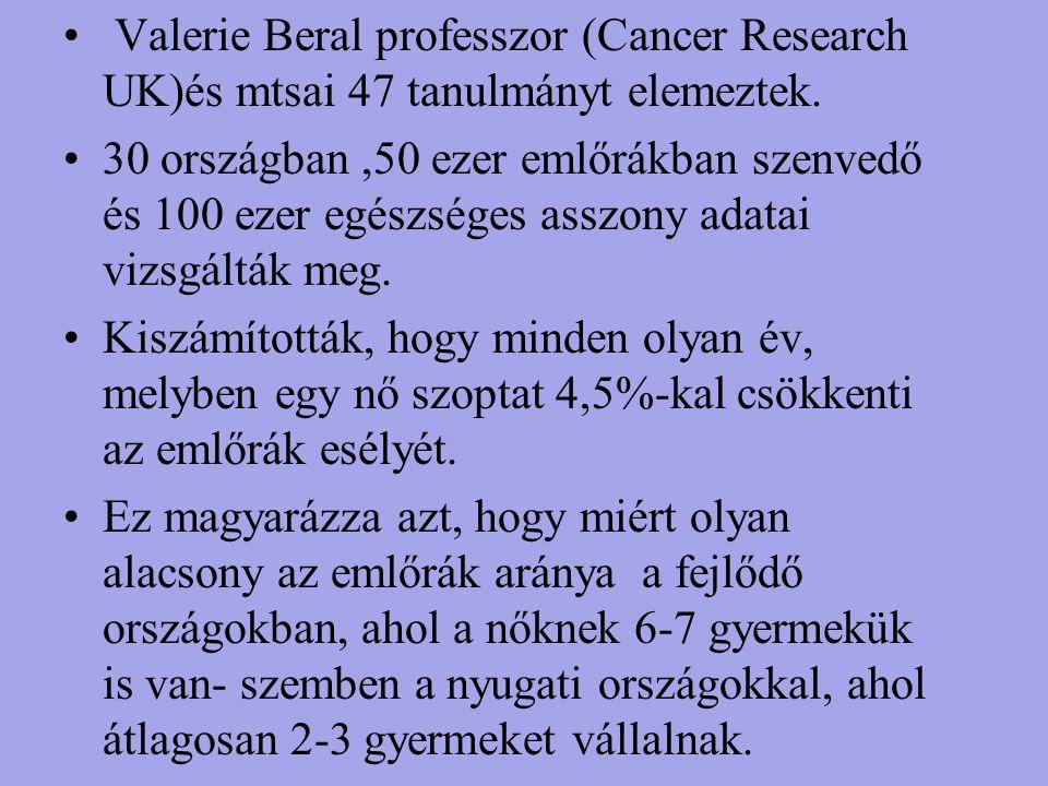 Valerie Beral professzor (Cancer Research UK)és mtsai 47 tanulmányt elemeztek.