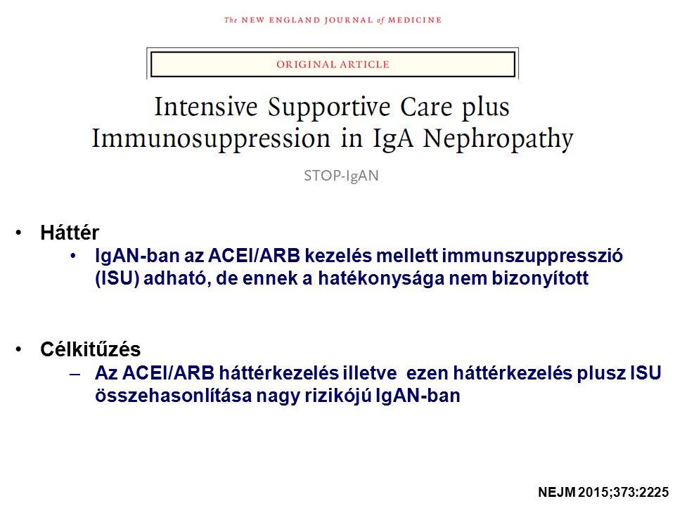 Háttér IgAN-ban az ACEI/ARB kezelés mellett immunszuppresszió (ISU) adható, de ennek a hatékonysága nem bizonyított Célkitűzés –Az ACEI/ARB háttérkezelés illetve ezen háttérkezelés plusz ISU összehasonlítása nagy rizikójú IgAN-ban NEJM 2015;373:2225