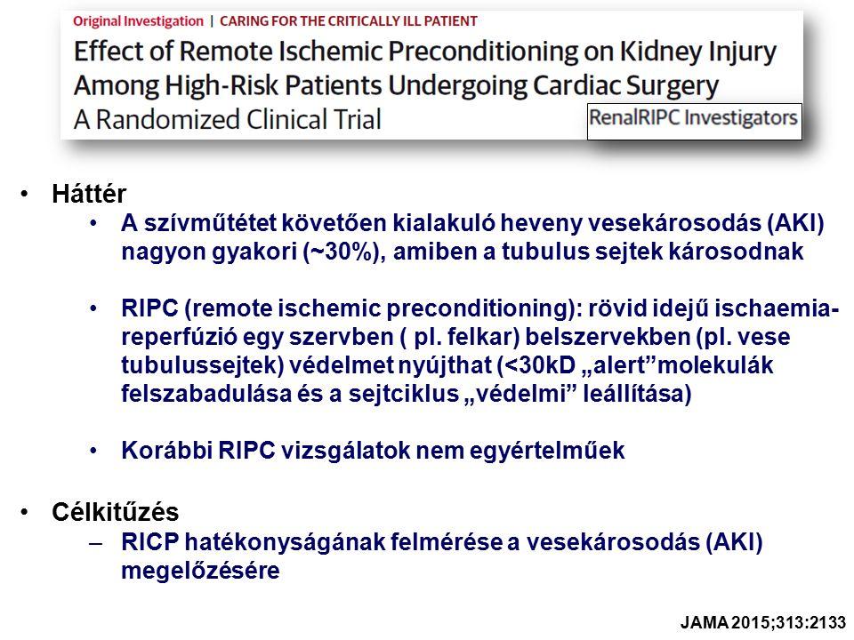 Háttér A szívműtétet követően kialakuló heveny vesekárosodás (AKI) nagyon gyakori (~30%), amiben a tubulus sejtek károsodnak RIPC (remote ischemic preconditioning): rövid idejű ischaemia- reperfúzió egy szervben ( pl.