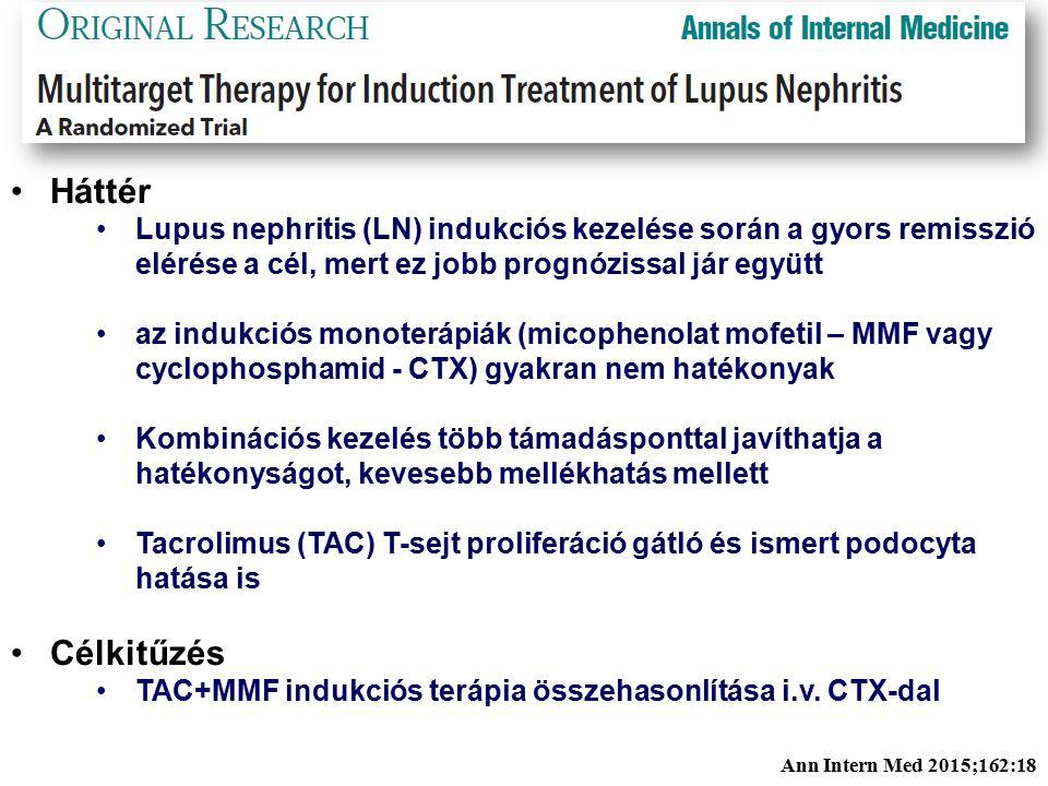 Háttér Lupus nephritis (LN) indukciós kezelése során a gyors remisszió elérése a cél, mert ez jobb prognózissal jár együtt az indukciós monoterápiák (micophenolat mofetil – MMF vagy cyclophosphamid - CTX) gyakran nem hatékonyak Kombinációs kezelés több támadásponttal javíthatja a hatékonyságot, kevesebb mellékhatás mellett Tacrolimus (TAC) T-sejt proliferáció gátló és ismert podocyta hatása is Célkitűzés TAC+MMF indukciós terápia összehasonlítása i.v.