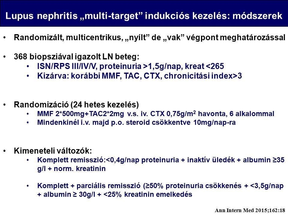 """Lupus nephritis """"multi-target indukciós kezelés: módszerek Randomizált, multicentrikus, """"nyílt de """"vak végpont meghatározással 368 biopsziával igazolt LN beteg: ISN/RPS III/IV/V, proteinuria >1,5g/nap, kreat <265 Kizárva: korábbi MMF, TAC, CTX, chronicitási index>3 Randomizáció (24 hetes kezelés) MMF 2*500mg+TAC2*2mg v.s."""