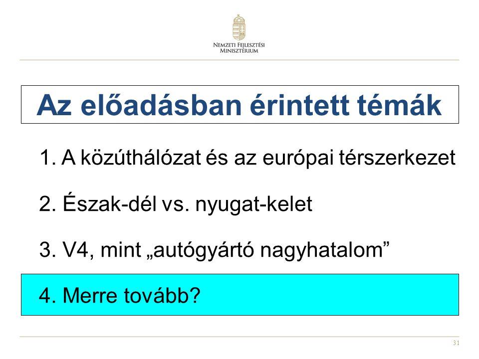 """31 Az előadásban érintett témák 1. A közúthálózat és az európai térszerkezet 2. Észak-dél vs. nyugat-kelet 3. V4, mint """"autógyártó nagyhatalom"""" 4. Mer"""