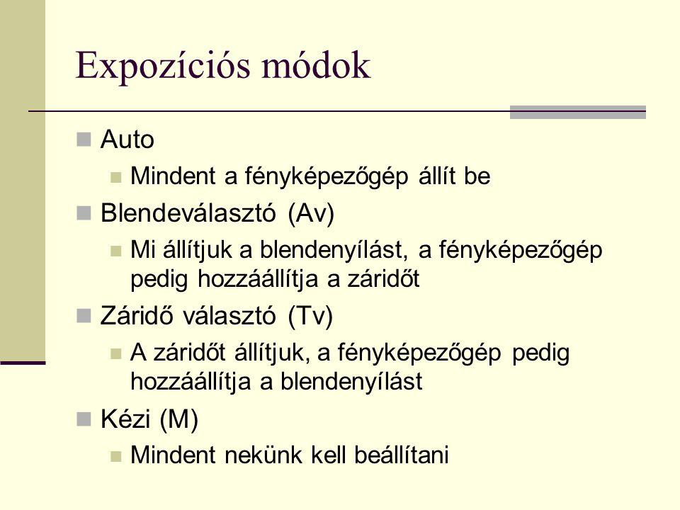 Expozíciós módok Auto Mindent a fényképezőgép állít be Blendeválasztó (Av) Mi állítjuk a blendenyílást, a fényképezőgép pedig hozzáállítja a záridőt Záridő választó (Tv) A záridőt állítjuk, a fényképezőgép pedig hozzáállítja a blendenyílást Kézi (M) Mindent nekünk kell beállítani