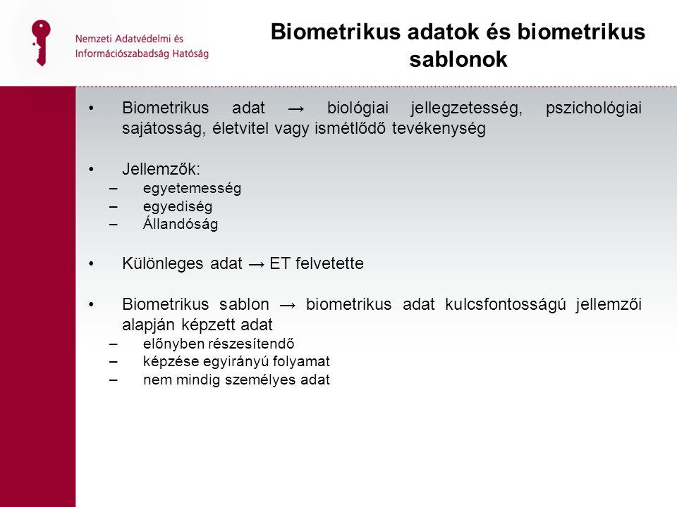 Biometrikus adat → biológiai jellegzetesség, pszichológiai sajátosság, életvitel vagy ismétlődő tevékenység Jellemzők: –egyetemesség –egyediség –Állandóság Különleges adat → ET felvetette Biometrikus sablon → biometrikus adat kulcsfontosságú jellemzői alapján képzett adat –előnyben részesítendő –képzése egyirányú folyamat –nem mindig személyes adat Biometrikus adatok és biometrikus sablonok