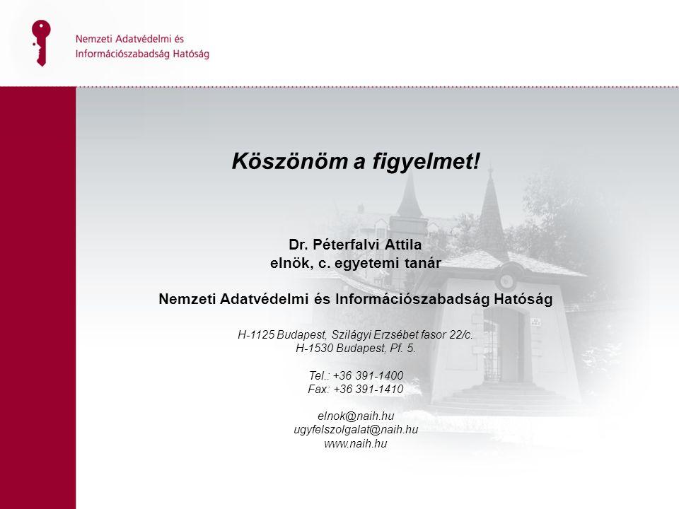 Köszönöm a figyelmet. Dr. Péterfalvi Attila elnök, c.