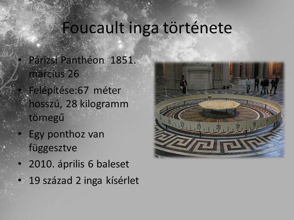 Foucault inga története Párizsi Panthéon 1851. március 26 Felépítése:67 méter hosszú, 28 kilogramm tömegű Egy ponthoz van függesztve 2010. április 6 b
