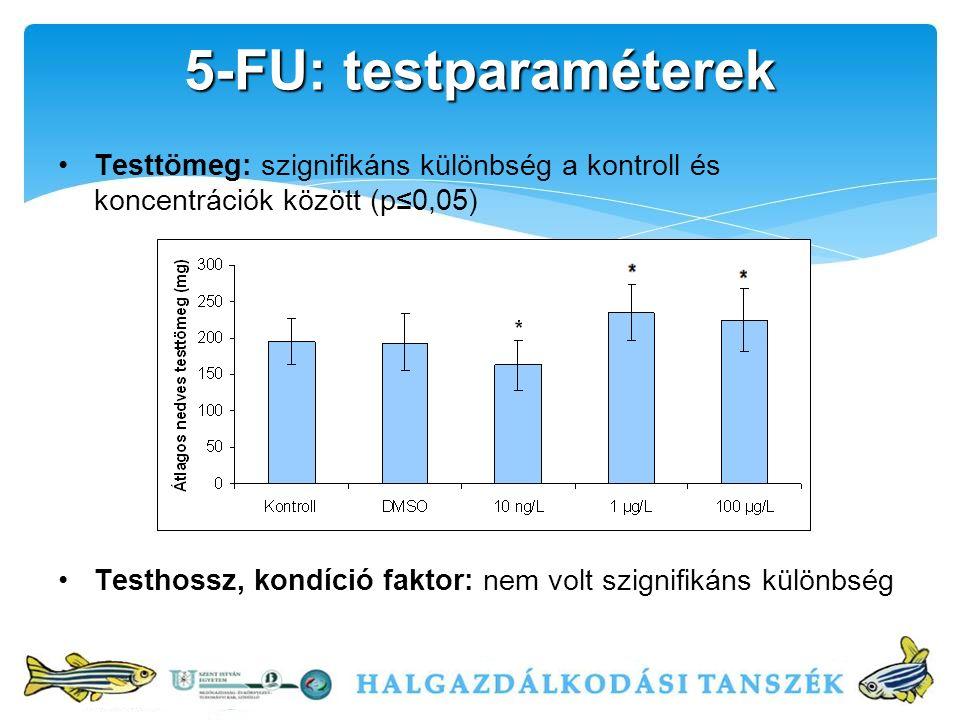 Testtömeg: szignifikáns különbség a kontroll és koncentrációk között (p≤0,05) Testhossz, kondíció faktor: nem volt szignifikáns különbség 5-FU: testparaméterek