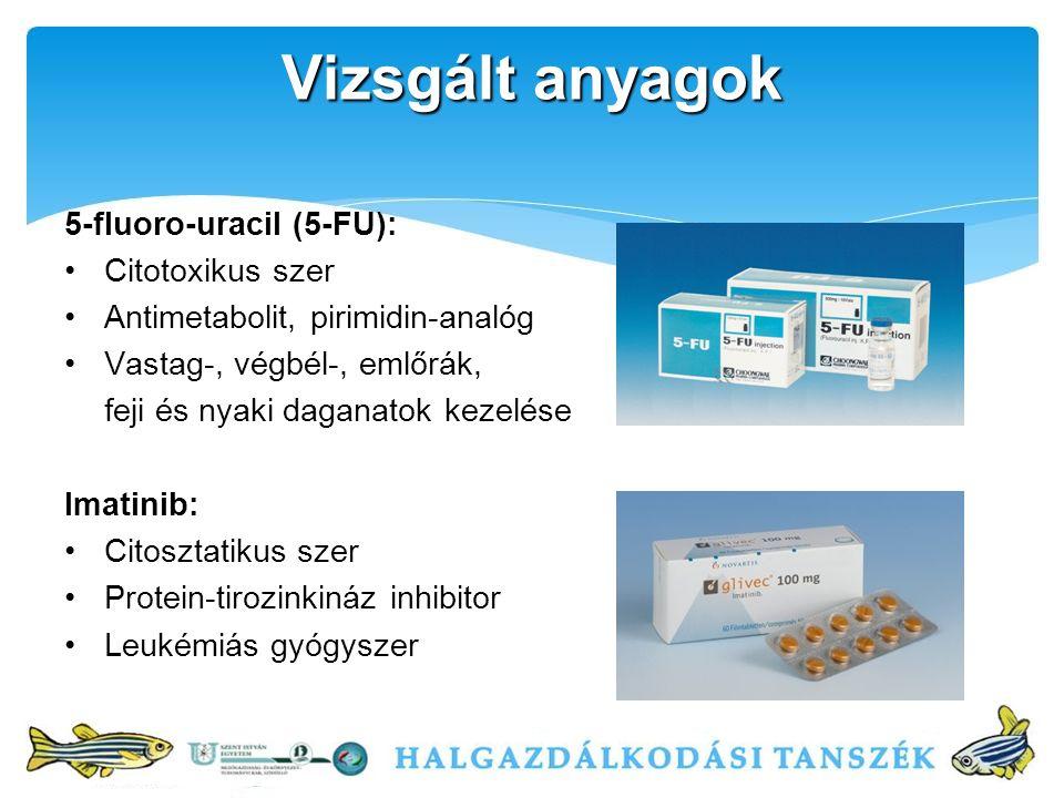 Vizsgált anyagok 5-fluoro-uracil (5-FU): Citotoxikus szer Antimetabolit, pirimidin-analóg Vastag-, végbél-, emlőrák, feji és nyaki daganatok kezelése Imatinib: Citosztatikus szer Protein-tirozinkináz inhibitor Leukémiás gyógyszer